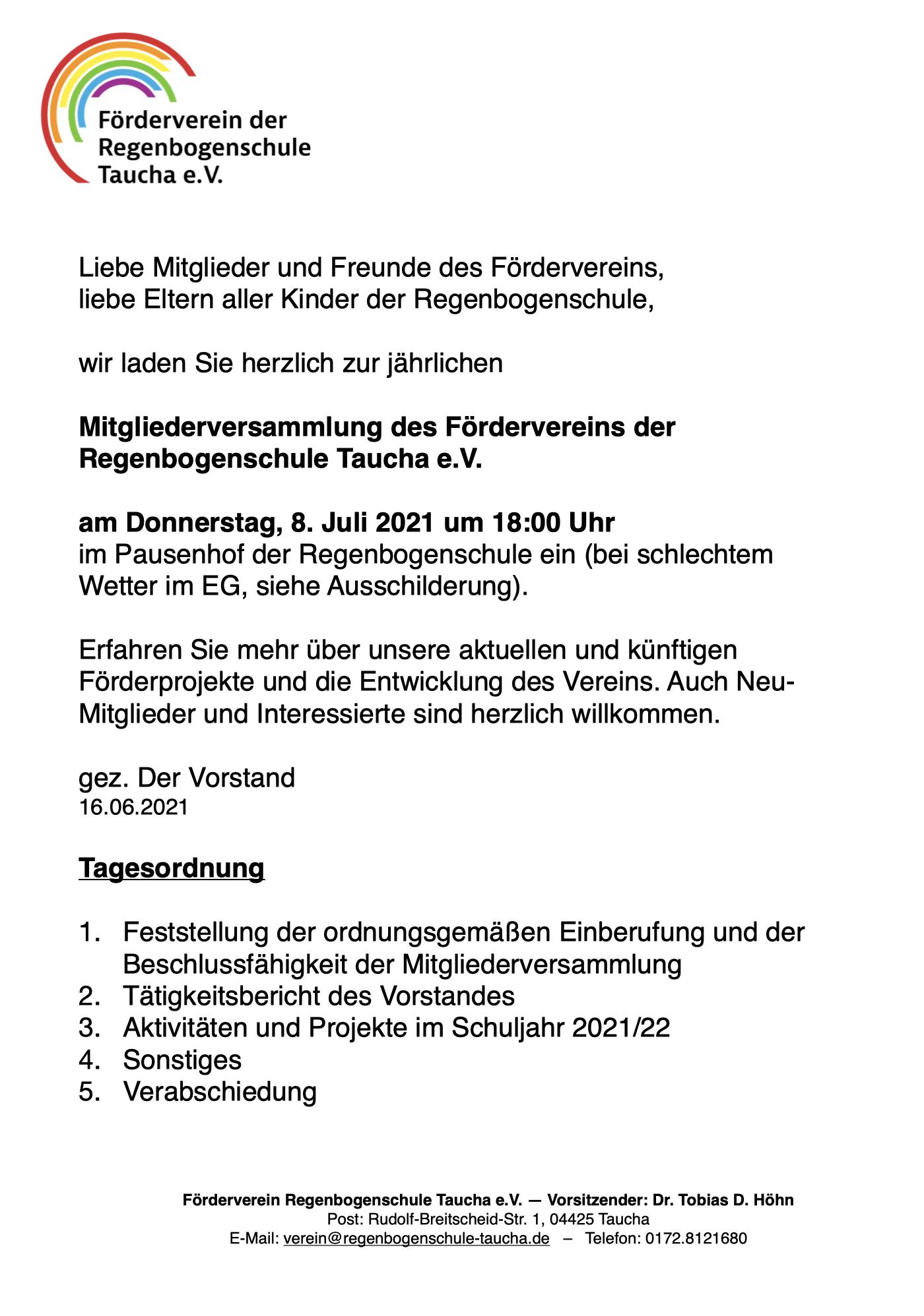 Regenbogenschule, Verein, Förderverein, Mitgliederversammlung